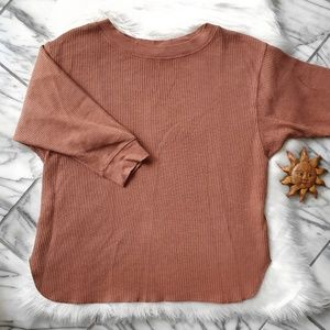 Uniqlo Waffle Knit Crew Neck Pumpkin Oversized Top